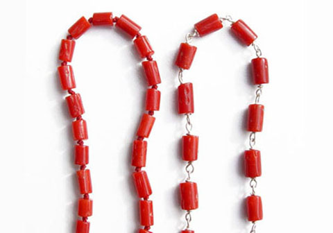 The red coral necklace we currently offer two types of red coral necklaces one is on thread and the other one is on silver wire the silver wire necklace is stronger mozeypictures Images