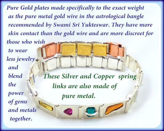 An astrological gem bangle which has copper, silver and gold spring links for added benefit.