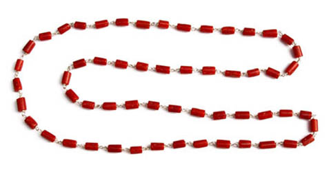 Astrological, ayurvedic red coral necklaces. We only use genuine, carbonated astrological red coral in our items.