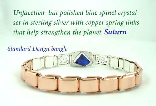 gemstone talisman with blue spinel crystal set in sterling silver with copper spring links