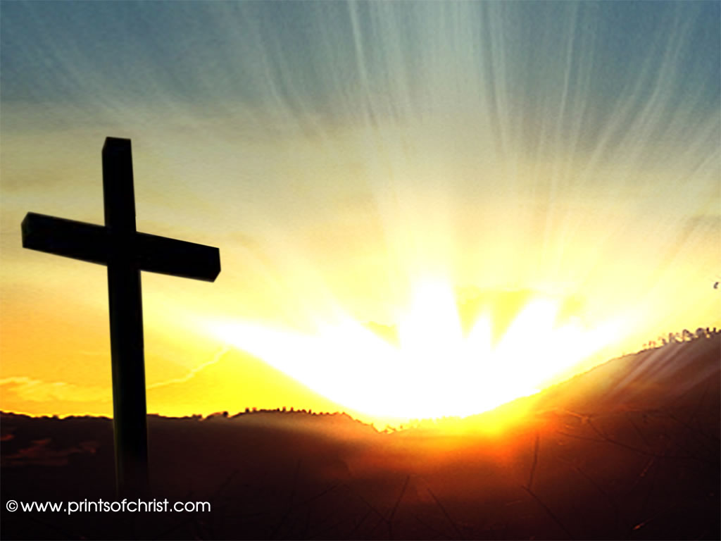 cross at sunrise image