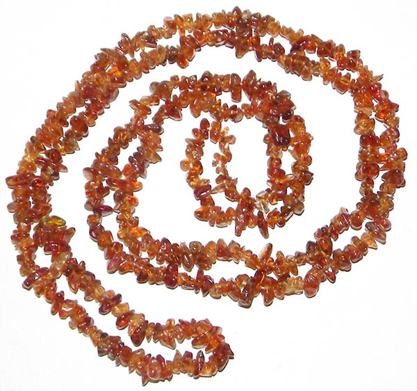 astrological ayurvedic hessonite garnet chip necklace, 35 inches with 4 - 5mm gems.