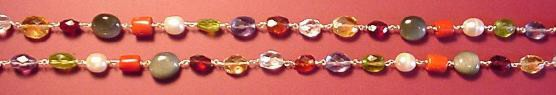 Navaratna necklace detail on red