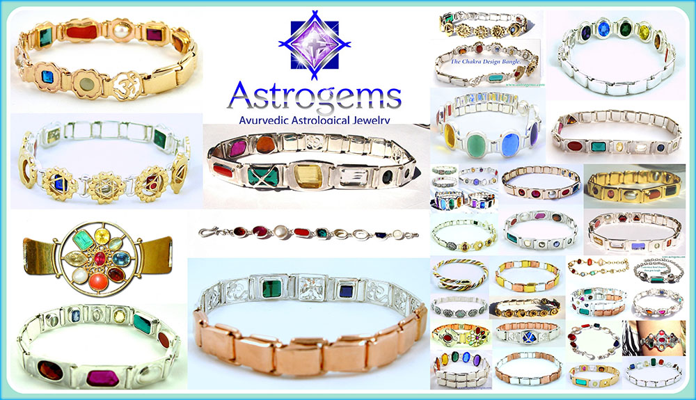 Collage of various different styles of navaratnas, multi gemstone bangles made by Astrogems in Encinitas, California