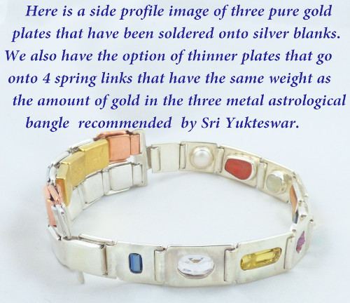 Navaratna nine gem bangle with gold plates in the same weight as the three metal astrological bangle as recommended by Swami Sri Yukteswar