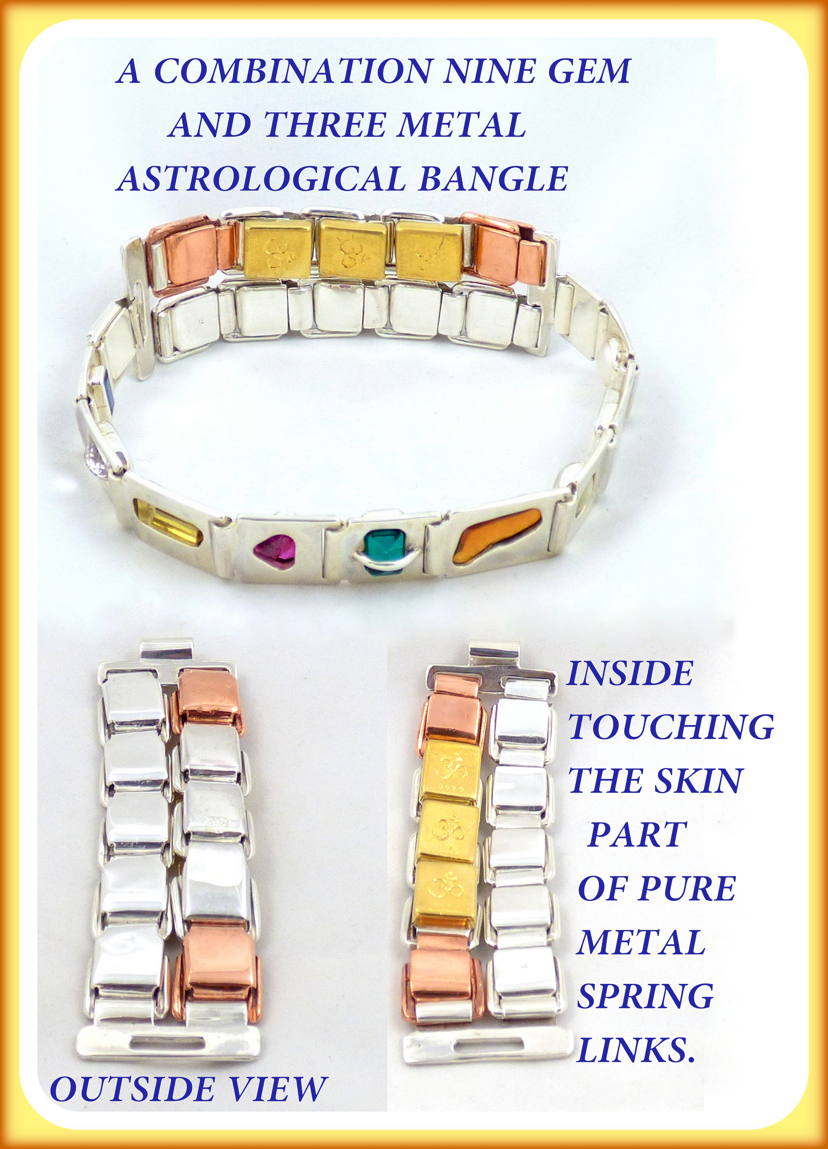 A combination nine gem (navaratna) and three metal astrological bangle, including a top, outside and inside view.