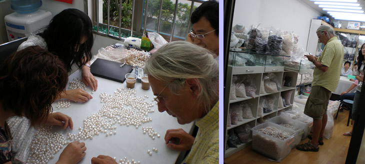 Nick Hodgson hand selecting pearls on site in China
