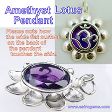 Lotus shaped amethyst pendant for Saturn in silver