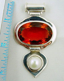 Rahu Hessonite and Pearl Astrological pendant.