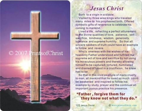 prayer card with cross