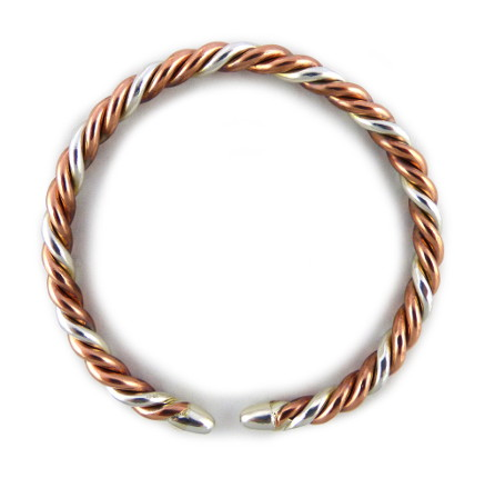 pure copper and pure silver twist bracelet