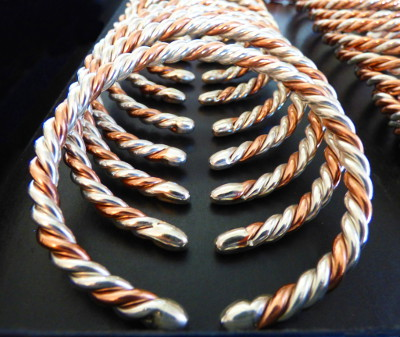 pure silver and pure copper astrological wire bangle