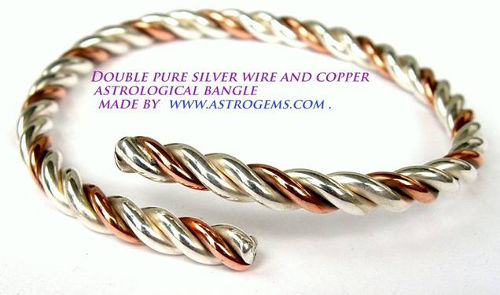 pure silver and pure copper astrological wire bracelet