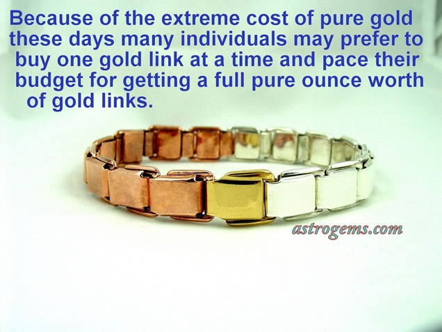 three metal spring link bracelet