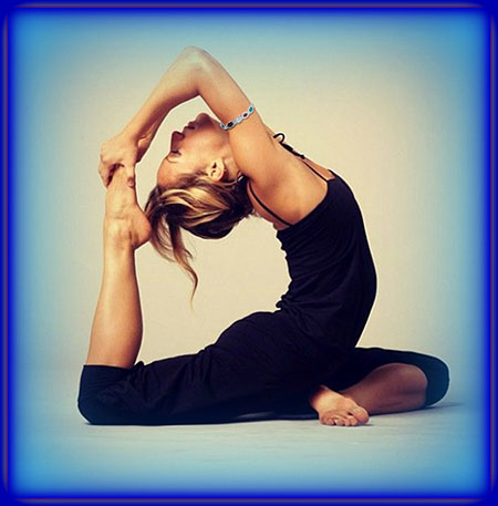 woman doing yoga wearing multi gem bangle