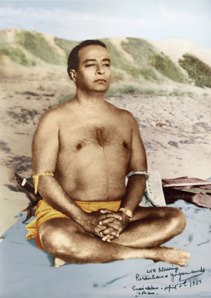 paramahansa yogananda meditating wearing astrological banges