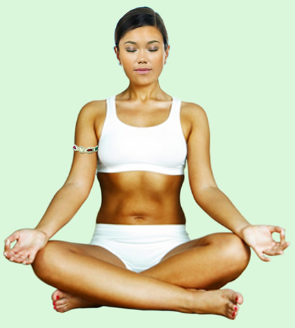 woman wearing color gem bangle meditating